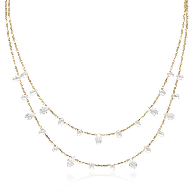 Gold Tone Glass Pearl Fashion Necklace