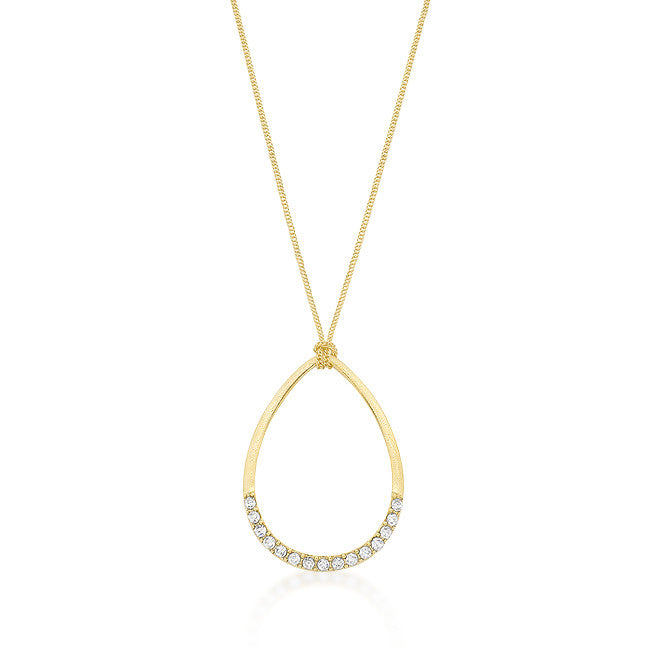 Matte Gold CZ Teardrop Pendant Set