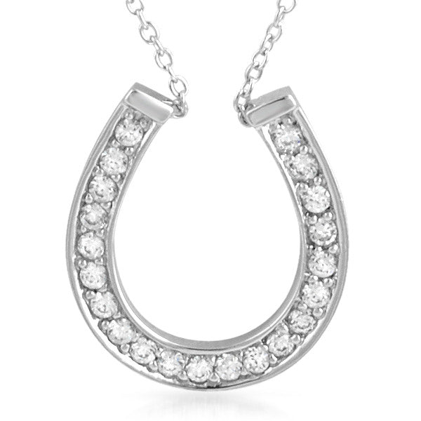Sterling Silver CZ Lucky Horseshoe Necklace