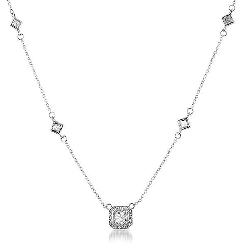 Sterling Silver Radiant Cut CZ by The Yards Necklace