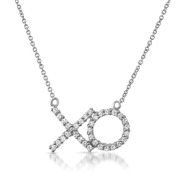 Silver Hugs and Kisses XO CZ Necklace