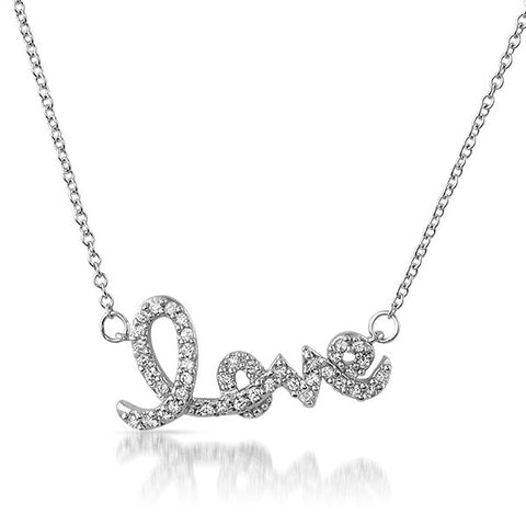 Silver Love Script Cubic Zirconia Necklace