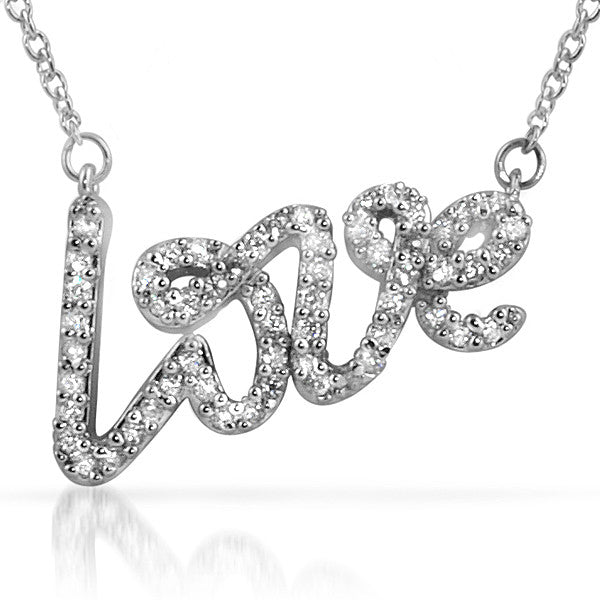 Sterling Silver Signity CZ Love Script Necklace