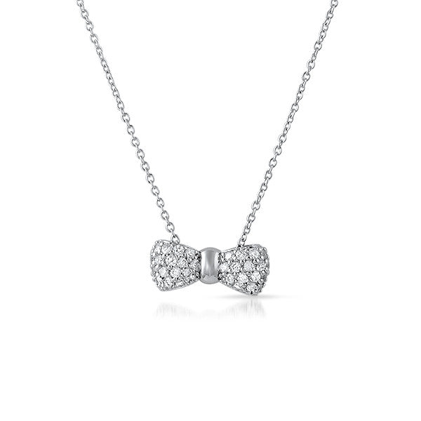 Small Pave CZ Bowtie Pendant with Chain