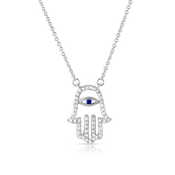 Fine CZ Sterling Silver Hamsa Necklace