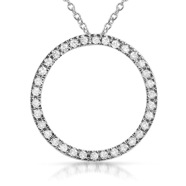 Sterling Silver Large Signity CZ Circle Pendant Set