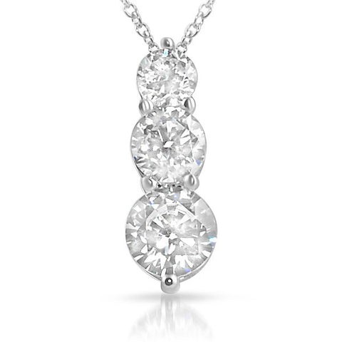 925 Silver Simulated Diamond 3 Stone Pendant set