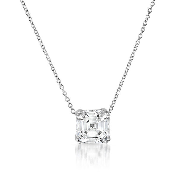 3 Carat Asscher Cut CZ Solitaire Necklace