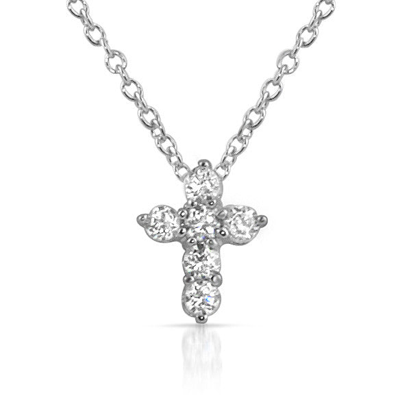 Signity CZ Baby Cross Pendant and Necklace Set