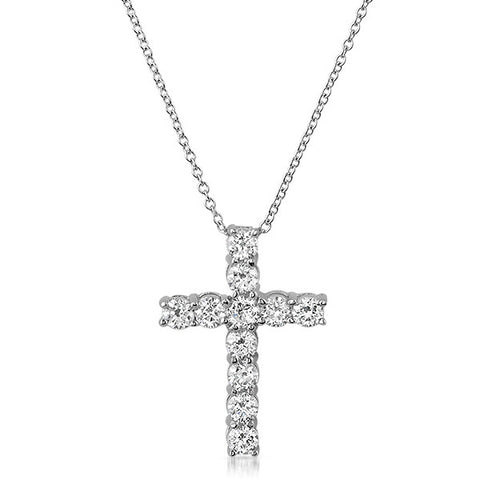 1.20 CTW CZ Prong Set Cross Silver Necklace