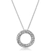Silver CZ Twisted Circle Medallion with Necklace
