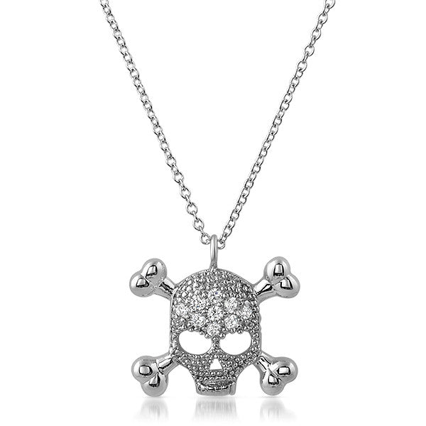 Silver Cross and Bones Womens CZ Necklace