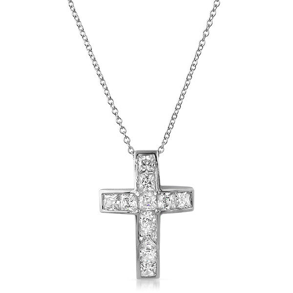 2 CTW CZ Princess Channel Set Cross Necklace