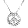 925 Silver Peace Sign CZ Charm Necklace