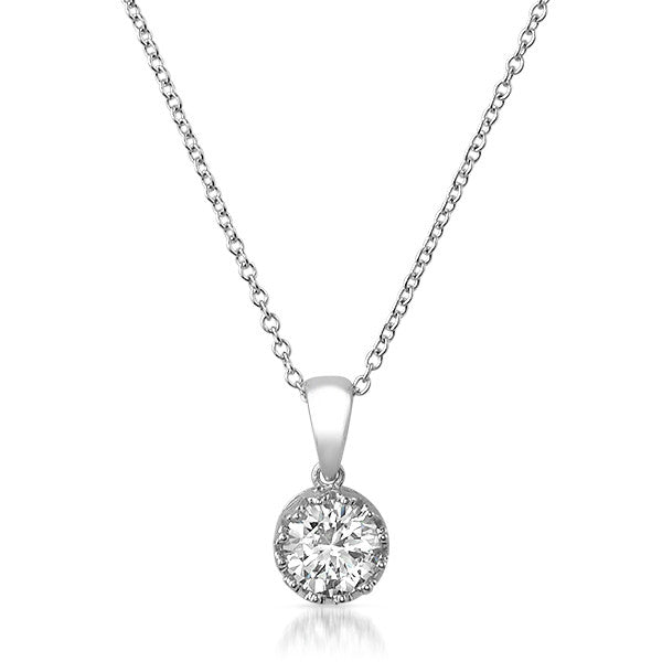 6mm Round Crown Bezel Set CZ Solitaire Necklace