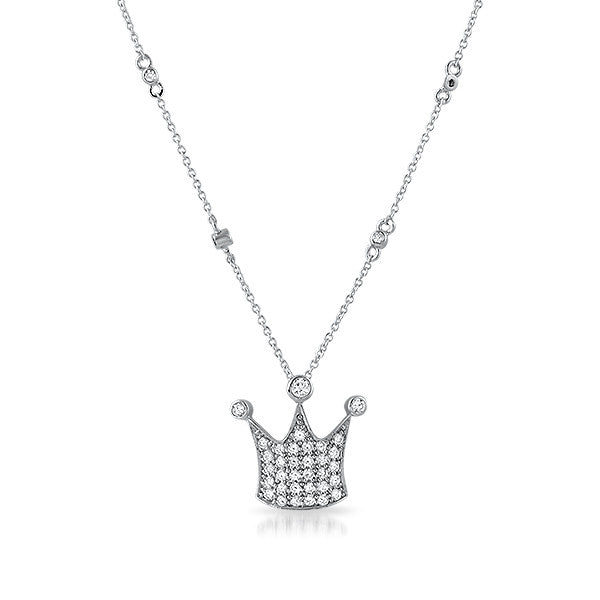CZ Sterling Silver Crown Station Necklace