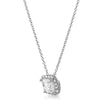 2.30 CTW Cushion Cut CZ Halo Silver Necklace