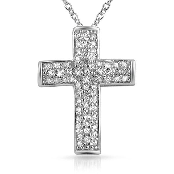 Micropave Signity CZ Cross Pendant With Necklace
