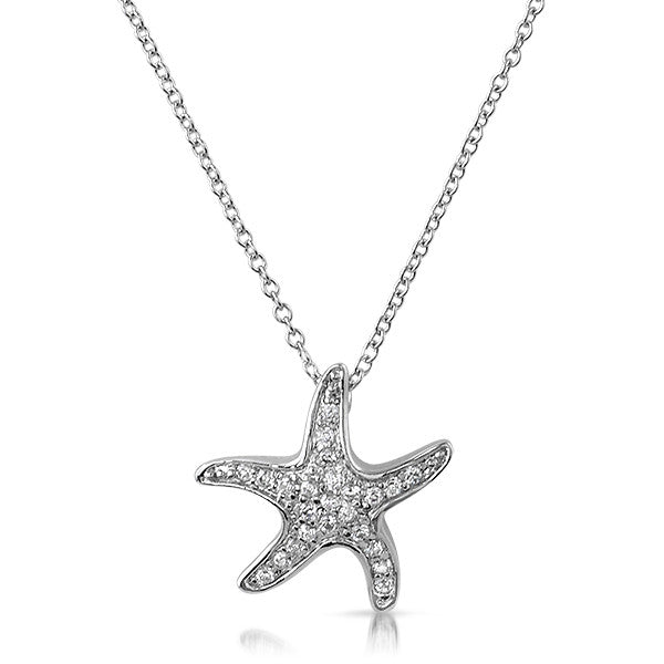 Silver CZ Starfish Pendent Necklace Set