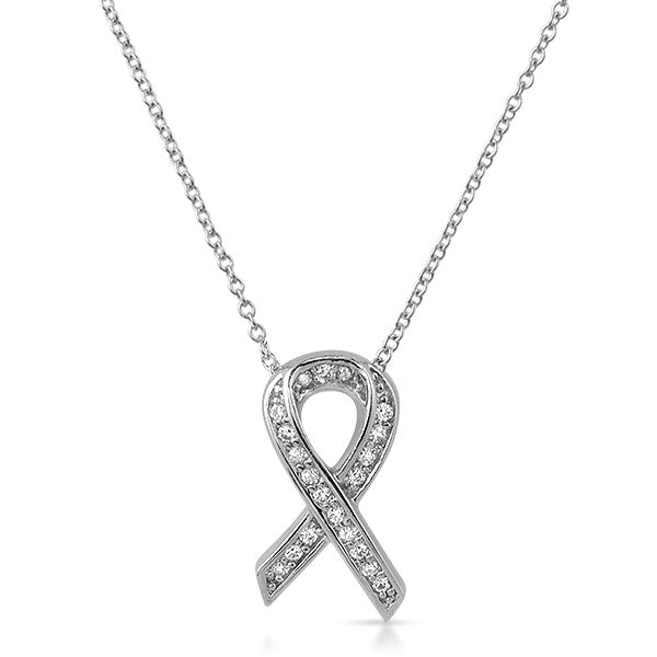 Sterling Silver Awareness Ribbon CZ Necklace