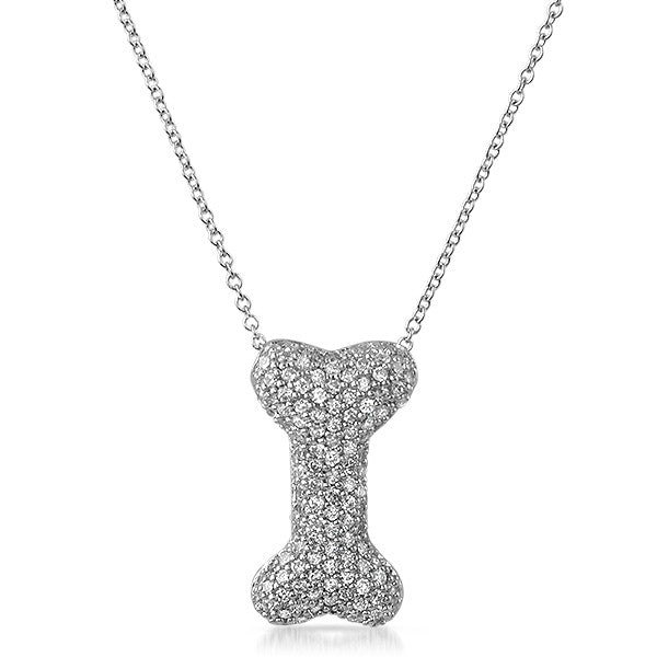Silver 3D Dog Bone Micropave CZ Pendant Set