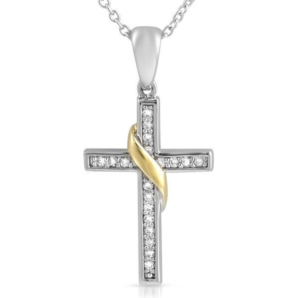 Two Tone Elegant CZ Cross Charm Necklace Set