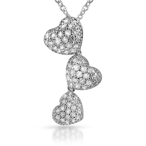 Silver Signity CZ Hearts Journey Necklace
