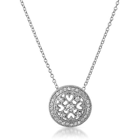 Ornate Fine Silver CZ Medallion Necklace Set