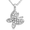 Silver CZ Small Butterfly Charm Necklace Set