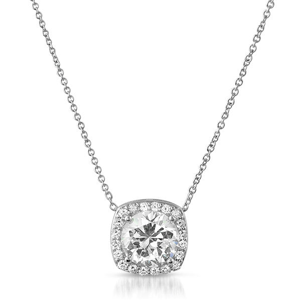 2.5 Carat Ideal Cut CZ Silver Halo Pendant Set