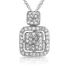 925 Silver Signity CZ Cushion Pendant Set