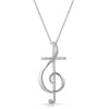 Silver CZ Treble Clef Cross Necklace Set