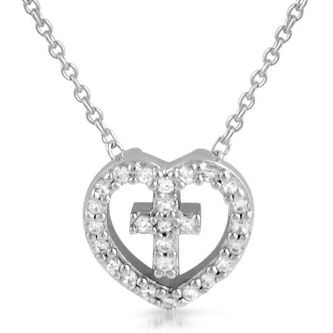 Hollow Heart Cubic Zirconia Cross Necklace
