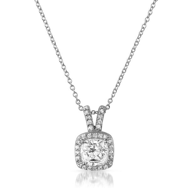 Silver Cushion Cut CZ Fancy Pendant Set
