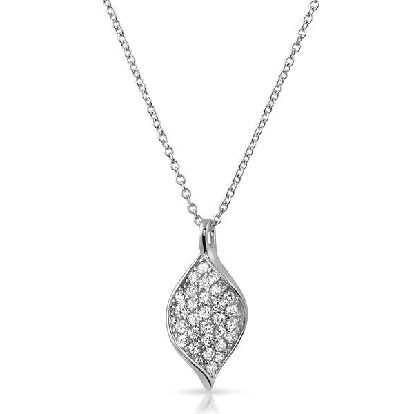 Sterling Silver Twisted CZ Pendant Set