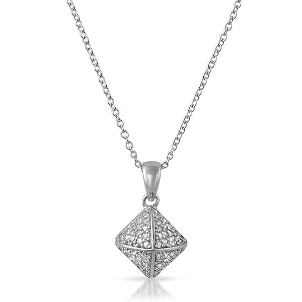 Sterling Silver Micropave CZ Pyramid Pendant