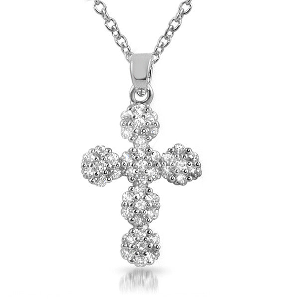 Sterling Silver Signity CZ Flower Cross Necklace