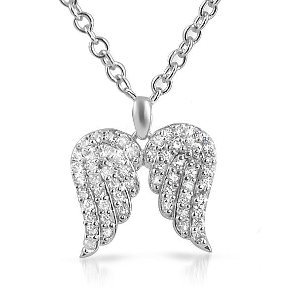 Sterling Silver Signity CZ Angel Wings Necklace