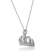 Silver Cubic Zirconia Fancy Crown Necklace