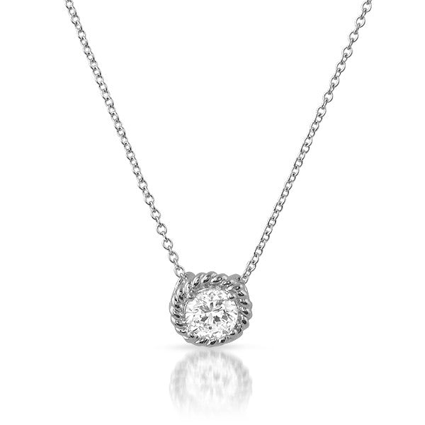 Braided Border CZ Solitaire Silver Pendant Set