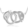 Polished Silver Dangling Handcuff Necklace