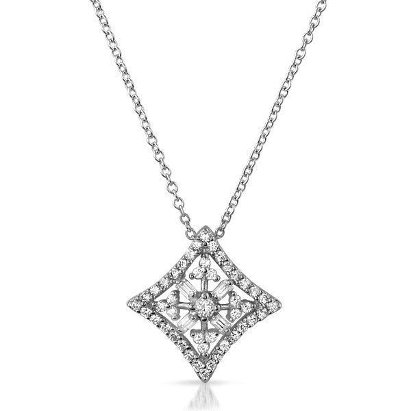 Sterling Silver CZ Kite Medallion Necklace Set