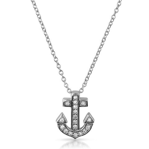 Silver CZ Anchor Cross Pendant Necklace Set