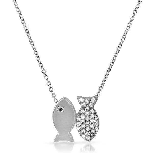 Silver CZ Goldfish Pendant and Necklace Set