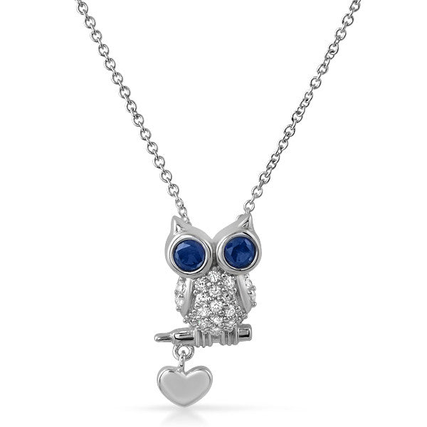 925 Silver Sitting Owl CZ Necklace Set