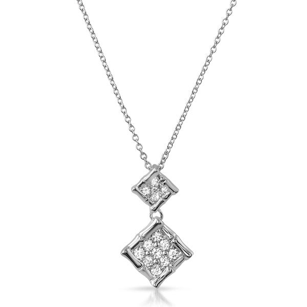 Silver Modern Bamboo CZ Drop Necklace