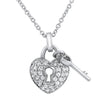 Sterling Silver CZ Heart and Lock Necklace Set
