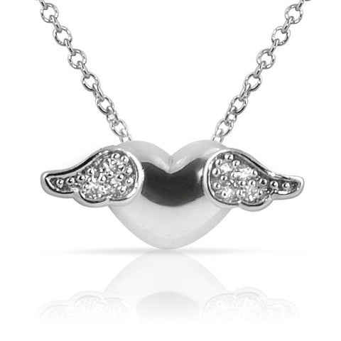 Heart With Wings Signity CZ Necklace 925 Silver