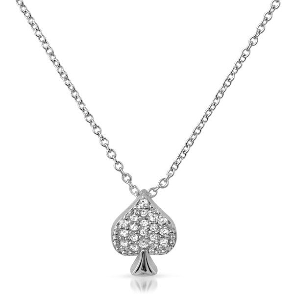 Sterling Silver Micropave CZ Spade Necklace