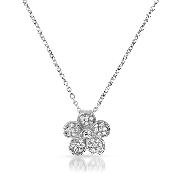 Sterling Silver CZ Flower Pendant Chain Set